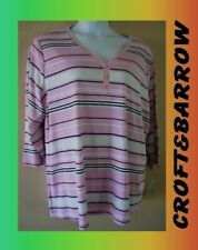 WOMEN'S PLUS SIZE 3X 22W 24W  SUMMER STRIPED HENLEY FALL SHIRT CLOTHING - NEW