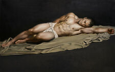 "36 "" TOP ART # NUDE MAN Male sleeping model GAY print art painting on canvas"