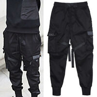Men Fashion Black Hip Hop Street Tactical Harem Pants Joggers Cargo Trousers
