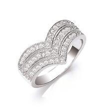 Plata esterlina allanar conjunto anillo de triple Wishbone