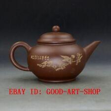 Chinese Yixing Zisha Hand Carved Painting Bird Teapot Made By Zhou Zhichen G6