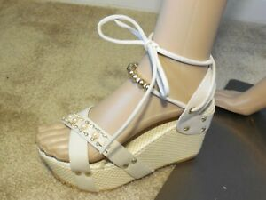NEW Women's Apricot Pearl Trim and Ankle Straps Platform Wedges Size 8