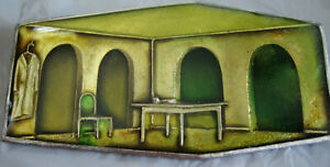 VINTAGE SURREAL SCENE PIN, SPARE ROOM w TABLE CHAIR COAT SEMITRANSLUCENT WINDOWS