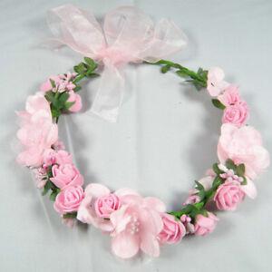 Boho Girl Floral Crown Flower Headband Hair Garland Wedding Headpiece UK