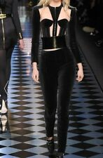 Balmain Runway Paneled  Black Velvet & Mesh Cropped Jacket