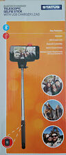 Telescopic Selfie Stick Bluetooth Enabled Camera Button USB Charger Lead