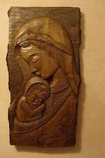 schöne Madonna Maria mit Jesuskind h 54,5cm b ca 28cm Holzfigur Relief