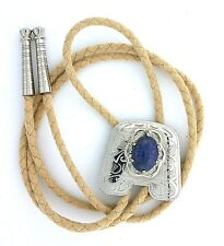 Silver Color Chaps Natural Oval 18x13 Lapis Cabochon Cab Gemstone Bolo Tie Cord