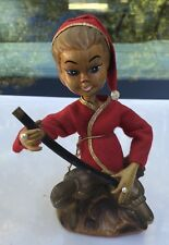 Mid Century Christmas Pixie/Elf Asian Musician Figure Made in Hong Kong
