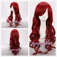 The Little Mermaid Ariel  Red Long Curly Cosplay Wig Heat Resistant +a wig cap