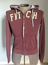 ABERCROMBIE And FITCH Boys Brown Hoodie Zip Up Logo Spellout Jacket/Coat S LARGE