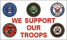 We Support Our Troops Flag 3x5 ft Seals Us Army Navy Air Force Marines Coast Gd