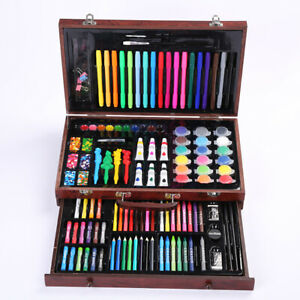 Xmas Gifts for kids 123 pcs Wooden Art Box Set for Colouring Painting Drawing