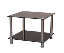 Nari 550x550 Chrome & Black Glass Side Table with a Shelf  - BRAND NEW