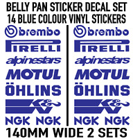 Motorbike Belly Pan Fairing Decals Stickers BLUE Colour SET OF 14 STICKERS