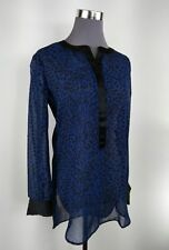 New S XS Jessica Simpson Sodalite Blue Leopard Sheer Button Up Long Sleeve Shirt