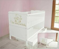 Wooden Baby Cot Bed & Drawer & Foam Mattress ✔ Converts to Toddler Bed - I love.