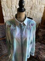 Embroidered Rhinestone  WRANGLER Womens XL Western Shirt Marbled Pearl Snap