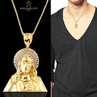 Mens 10K Yellow Gold Jesus Head Religious Charm Pendant 4.30 Gram