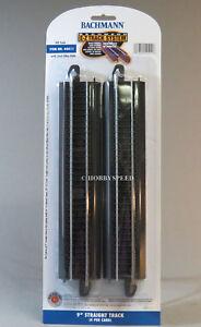 "BACHMANN E-Z TRACK HO 9"" STRAIGHT SECTION (4) PACK black roadbed BAC44411 NEW"