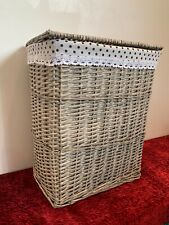 Grey Painted Wicker Basket Box Trunk Storage Chest Nursery Toys Clothes Trunk