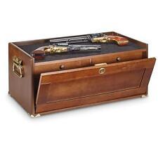 4-Drawer Storage Base Cabinet Gun Firearm Conceal Solid Wood Furniture, Walnut