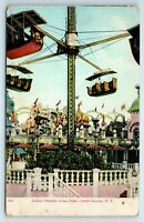 Vintage Postcard Aerial Swings Luna Park Coney Island New York NY