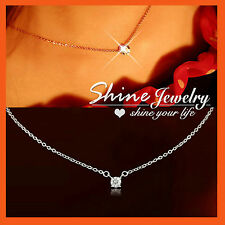 18K WHITE GOLD GF WEDDING 1CT SOLITAIRE Dainty NECKLACE CHAIN SIMULATED DIAMOND