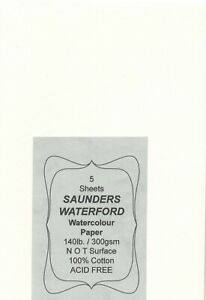 """A pack of 5 sheets """" SAUNDERS-WATERFORD WATERCOLOUR PAPER """" 300gsm. N O T ."""