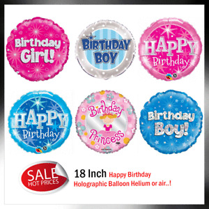 """18"""" Birthday Foil holographic balloon blue, pink helium air balloons, Girl, Boy"""
