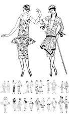 """Adult Coloring Cards Book (24 pages 6""""x8"""") Vintage Fashion Art Deco FLONZ 034"""