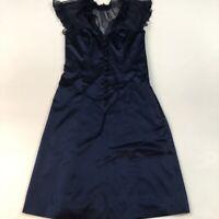 Betsey Johnson New York Women's Size 2 Navy Mesh Top Button Front Ruffle Dress