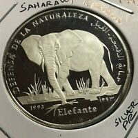 1993 SAHARAWI REPUBLIC SILVER PROOF 500 PESETAS PROOF ELEPHANT SCARCE CROWN