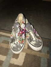 Ed Hardy Tennis Shoes Slip On Blue Black Tattoo Design Size 6 Cute!