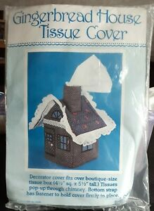 Gingerbread House Tissue Cover Quilted Chimney Pop-Up Box Country Cottagecore