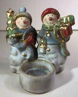 "G12 2 Snowmen Luminescence Porcelain T-lite Holder Candles 5"""