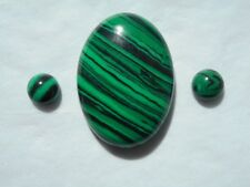 Malachite cabochons set of 3 stones for jewellery makers