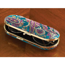 "Teal Paisley EYE GLASSES Hard CASE NEW eyeglasses 6"" L With MIRROR LIPSTICK CASE"