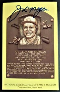 Joe Morgan Autographed Hall of Fame Plaque Postcard
