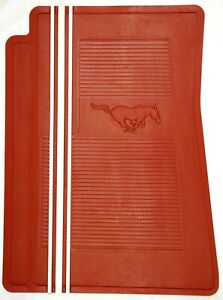 1965-73 MUSTANG RUBBER FLOOR MATS---RED running ponies with WHITE stripes