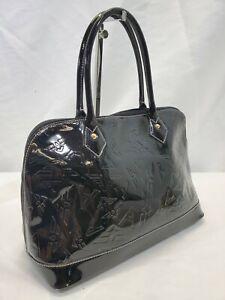 MW Arcadia Black Patent Leather Logo Embossed Zip Top Satchel Purse Handbag EUC!