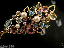 SIGNED SWAROVSKI FLOWER PIN~BROOCH 22KT GOLD PLATING RETIRED NEW WITH TAGS RARE