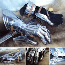 16g Steel Medieval Gauntlets / Gloves, Fully Articulated Metal. Reenactment LARP
