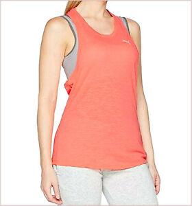 PUMA Underwear Sport Woman Tank Tops T-Shirt Yoga Running Orange Neon Size S