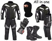 Waterproof Motorcycle Motorbike Suit Cordura Jacket Trouser Gloves Boots - Grey