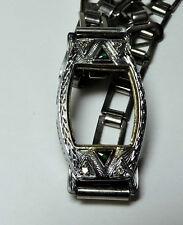 Antique Deco 18k White Gold Diamond Watch Case w/ Adjustable KREMENTZ Band #H531