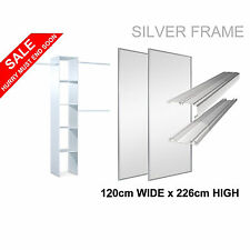 2 SILVER 'Stanley Design'* Sliding Mirror Wardrobe Door & Storage