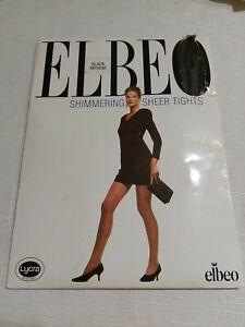 Elbeo Shimmering sheer 12 denier black nylon tights. Size Medium