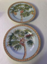 "Set Of 2 TRADE WINDS by Siddhia Hutchinson Palm Tree Andrea by Sadek 8 1/4""Plate"
