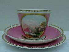 Antique Teacup Saucer & Side Plate Hand Painted Oriental Scene Pink Trio
